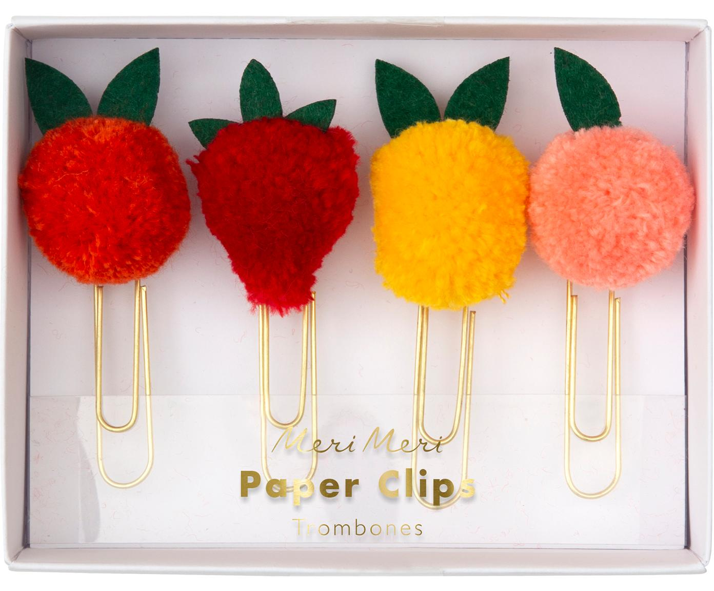 Paperclipset Fruit, 4-delig, Gelakt metaal, polyester, Roodtinten, roze, geel, goudkleurig, 2 x 5 cm