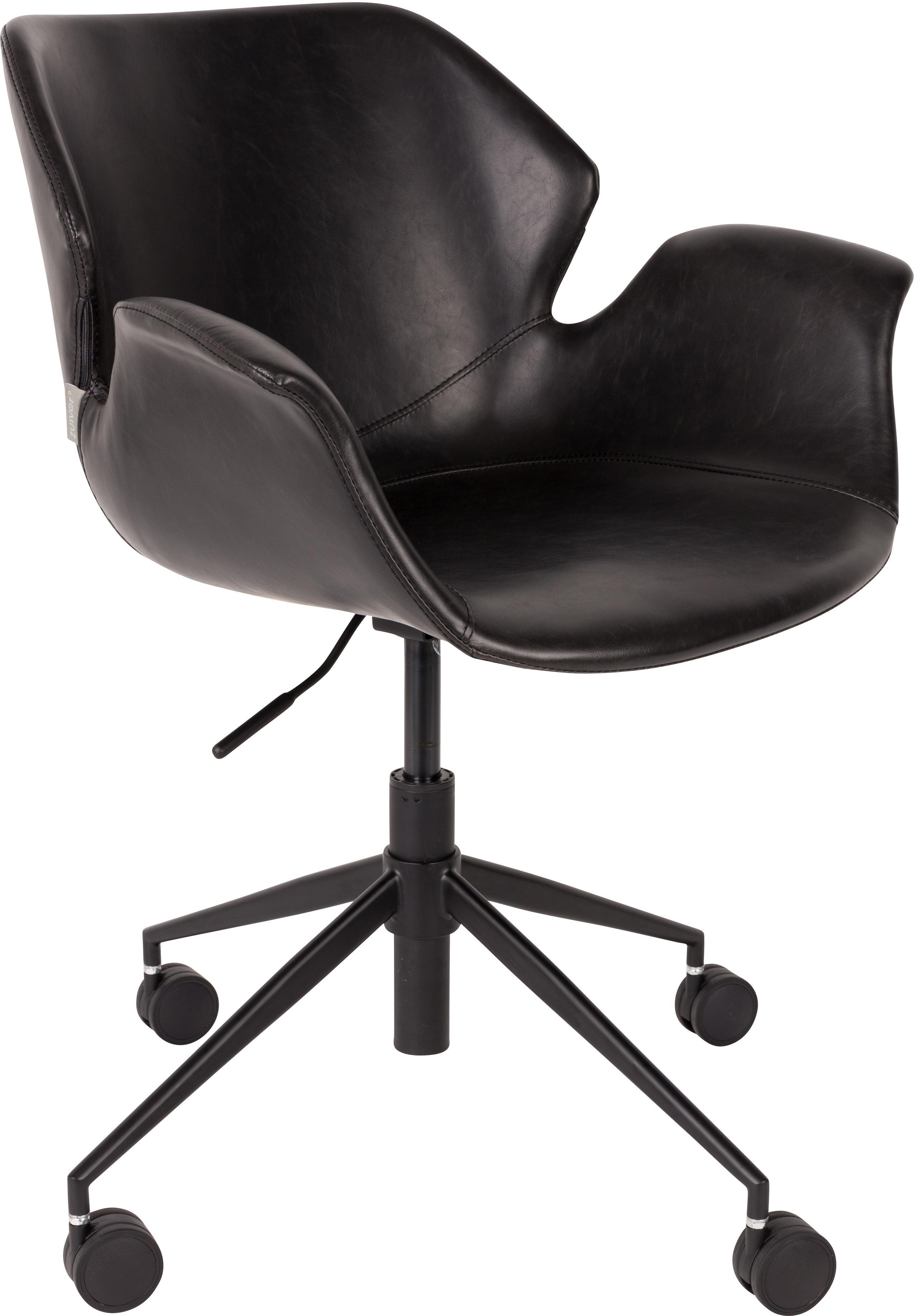 Biurowe krzesło obrotowe ze sztucznej skóry Nikki, Tapicerka: sztuczna skóra (poliureta, Nogi: metal malowany proszkowo, Czarny, S 77 x G 78 cm