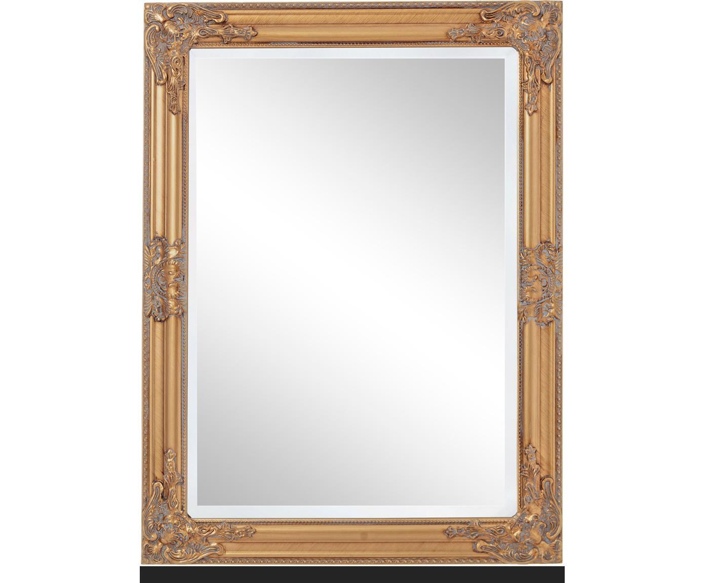 Specchio da parete con cornice dorata effetto vintage Miro, Cornice: legno, rivestito, Superficie dello specchio: lastra di vetro, Dorato, Larg. 62 x Alt. 82 cm