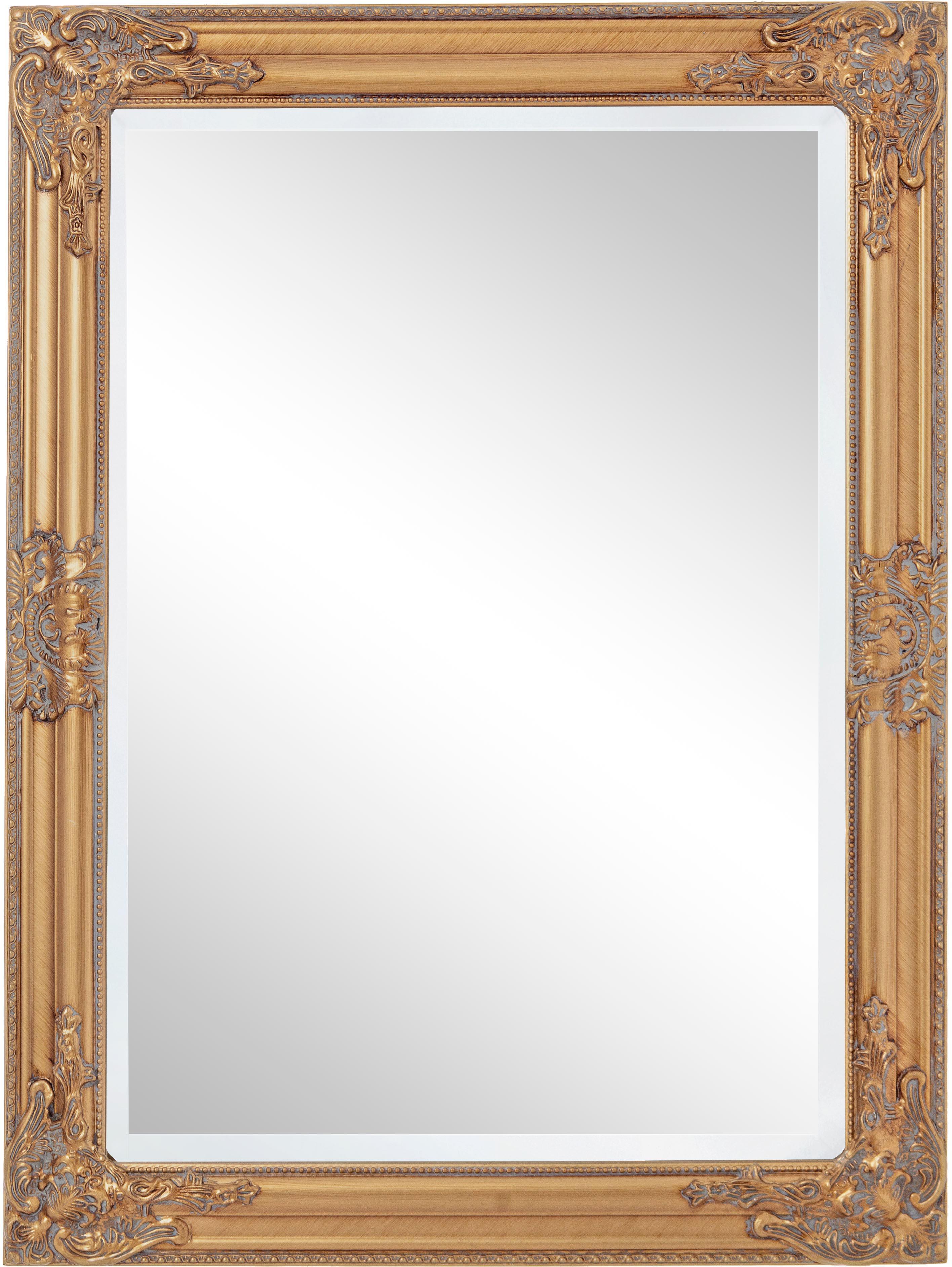 Wandspiegel Miro mit Goldrahmen in Antikoptik, Rahmen: Holz, beschichtet, Spiegelfläche: Spiegelglas, Goldfarben, 62 x 82 cm