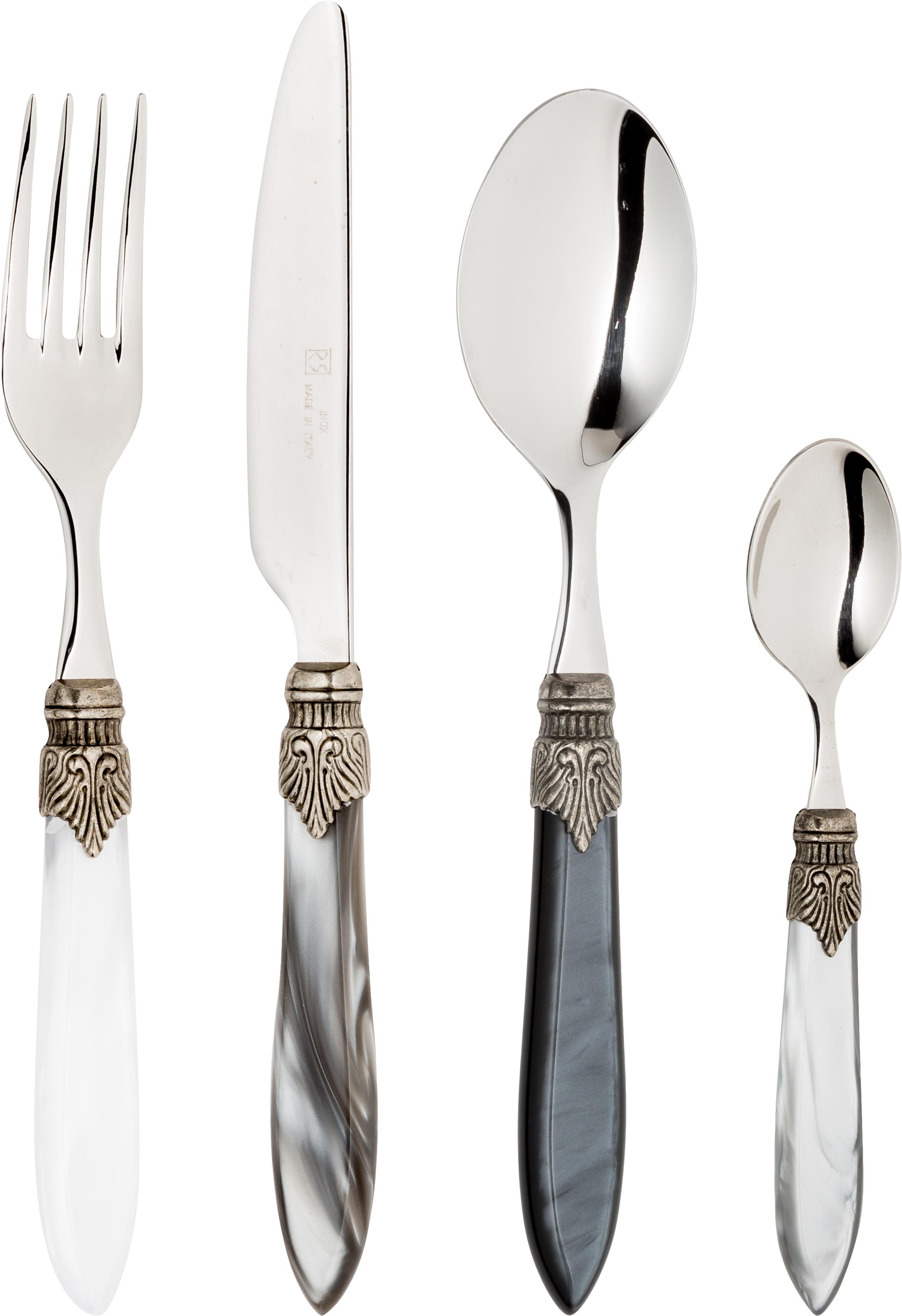 Silbernes Besteck-Set Murano aus 18/10 Edelstahl, 6 Personen (24-tlg.), Griff: Kunststoff, Grau, Sondergrößen