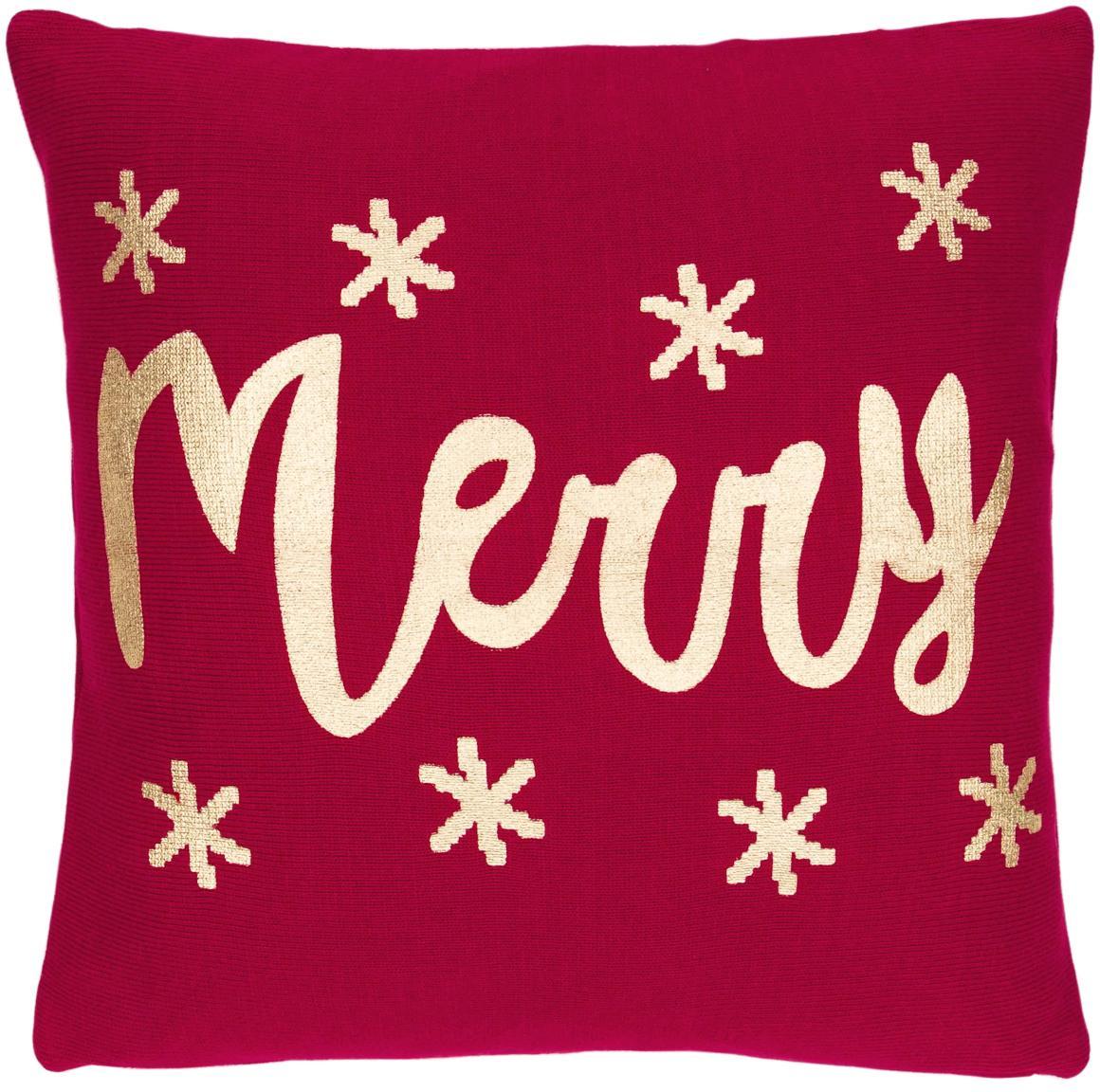 Funda de cojín de punto Merry, 100%algodón, Rojo, dorado, An 40 x L 40 cm