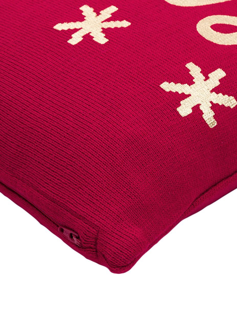 Strick-Kissenhülle Merry in Rot/Gold mit Schriftzug, Baumwolle, Rot, Gold, 40 x 40 cm