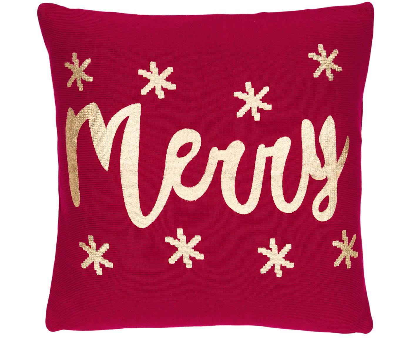 Gebreide kussenhoes Merry, 100% katoen, Rood, goudkleurig, 40 x 40 cm