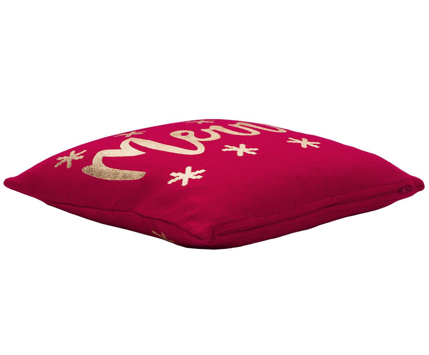Poszewka na poduszkę z dzianiny Merry, 100% bawełna, Czerwony, złoty, S 40 x D 40 cm