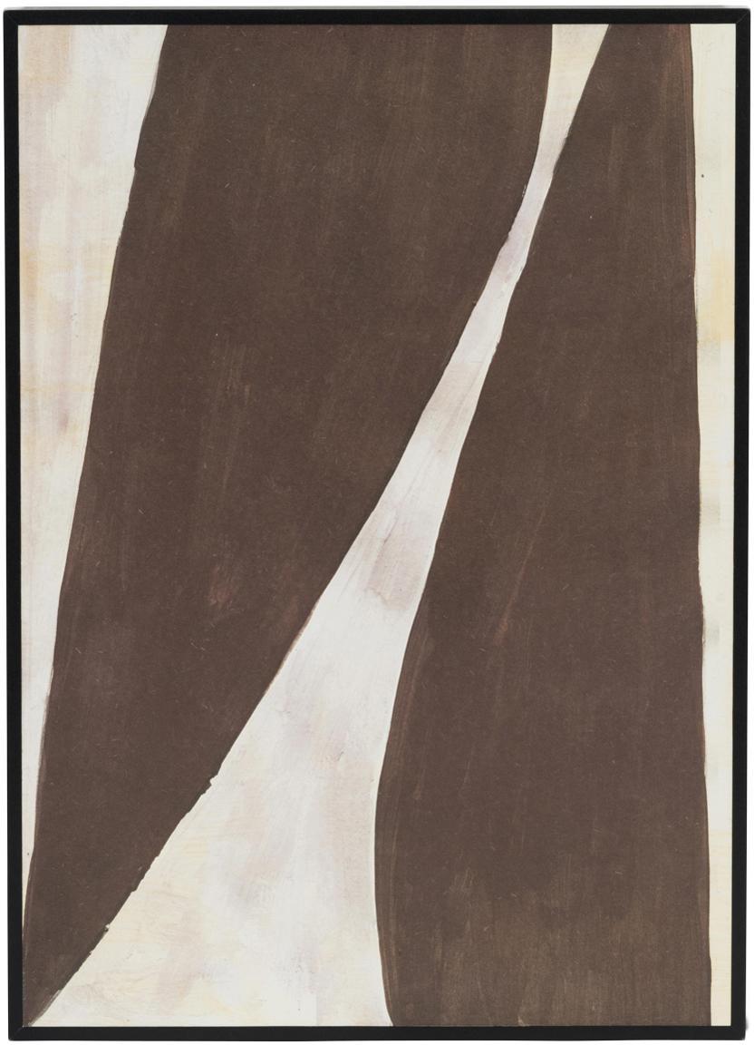 Ingelijste digitale print Rero, Lijst: MDF, gecoat, Bruin, crèmekleurig, 25 x 35 cm