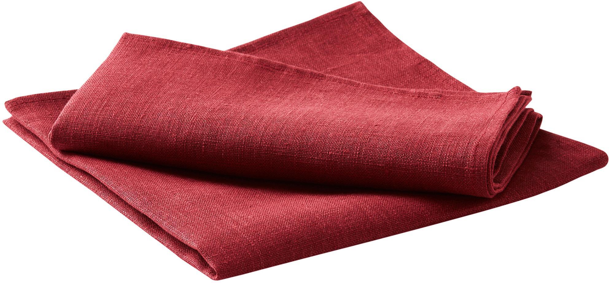 Linnen servetten Heddie, 2 stuks, 100% linnen, Rood, 45 x 45 cm