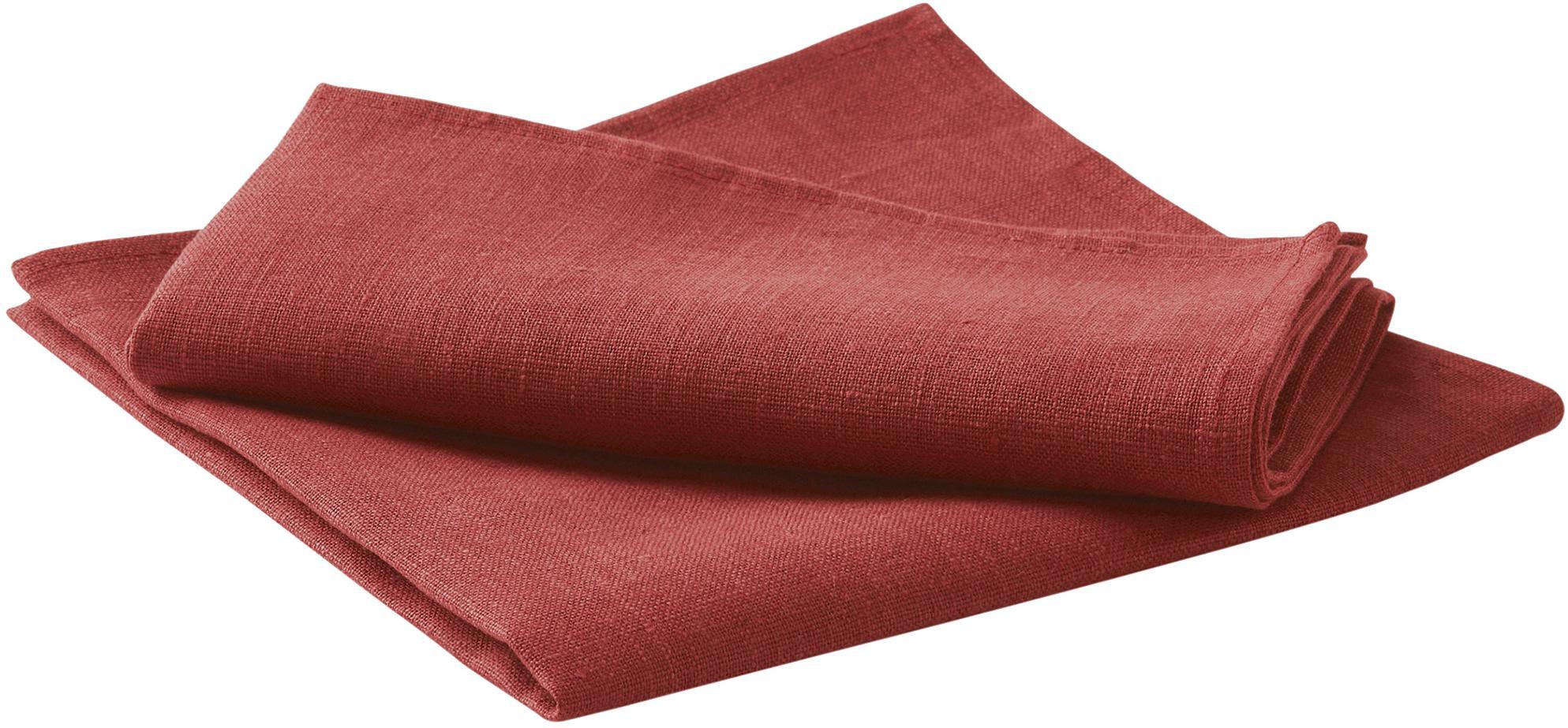 Servilletas de lino Heddie, 2uds., 100%lino, Rojo, An 45 x L 45 cm