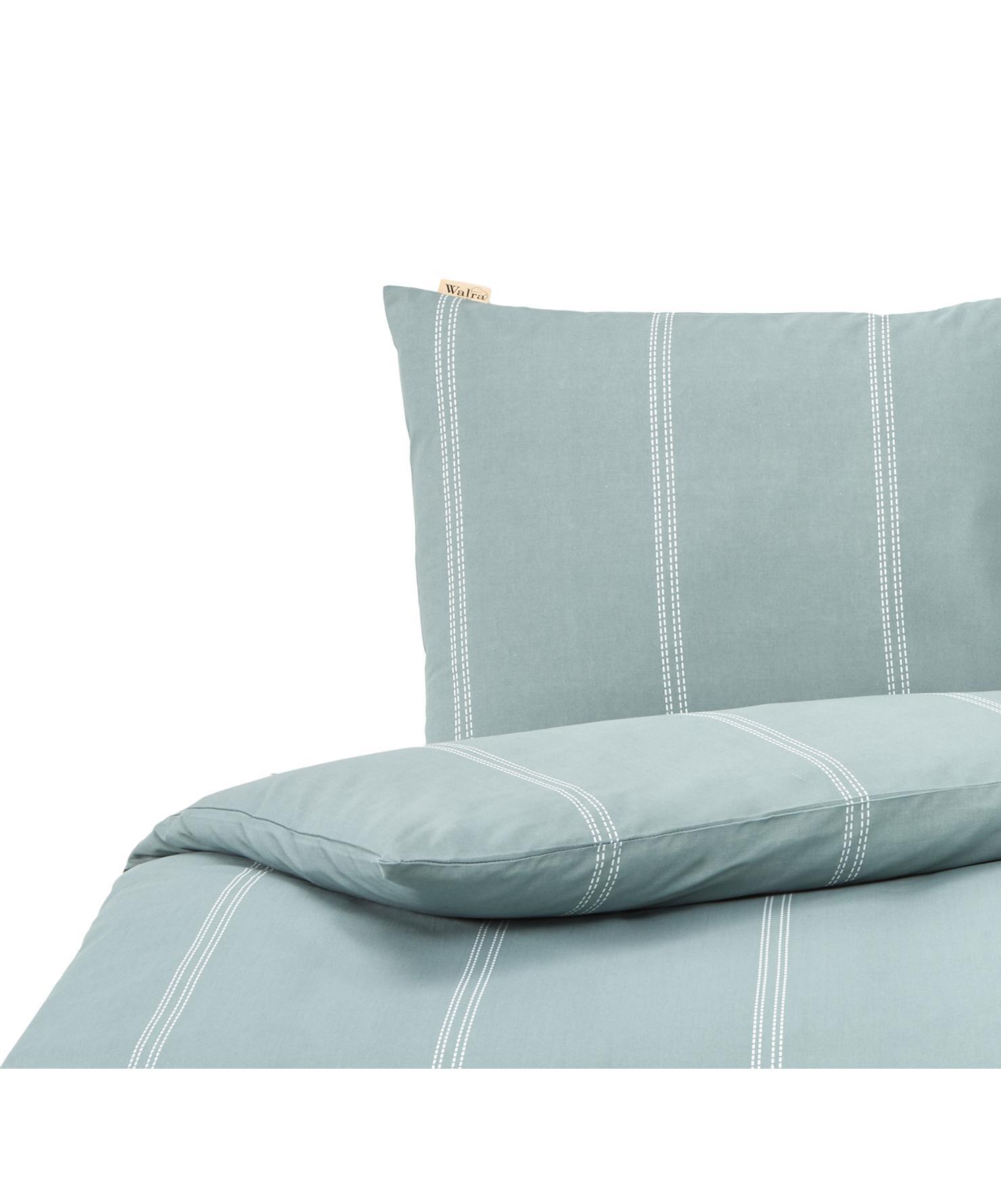 Dekbedovertrek Remade, 52% gerecycled polyester, 48% gerecycled katoen, Jadegroen, wit, 140 x 220 cm