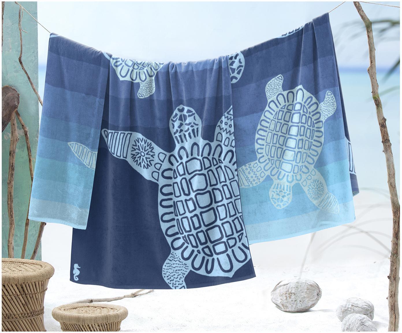 Ręcznik plażowy Turtle, Bawełna, Odcienie niebieskiego, S 100 x D 180 cm