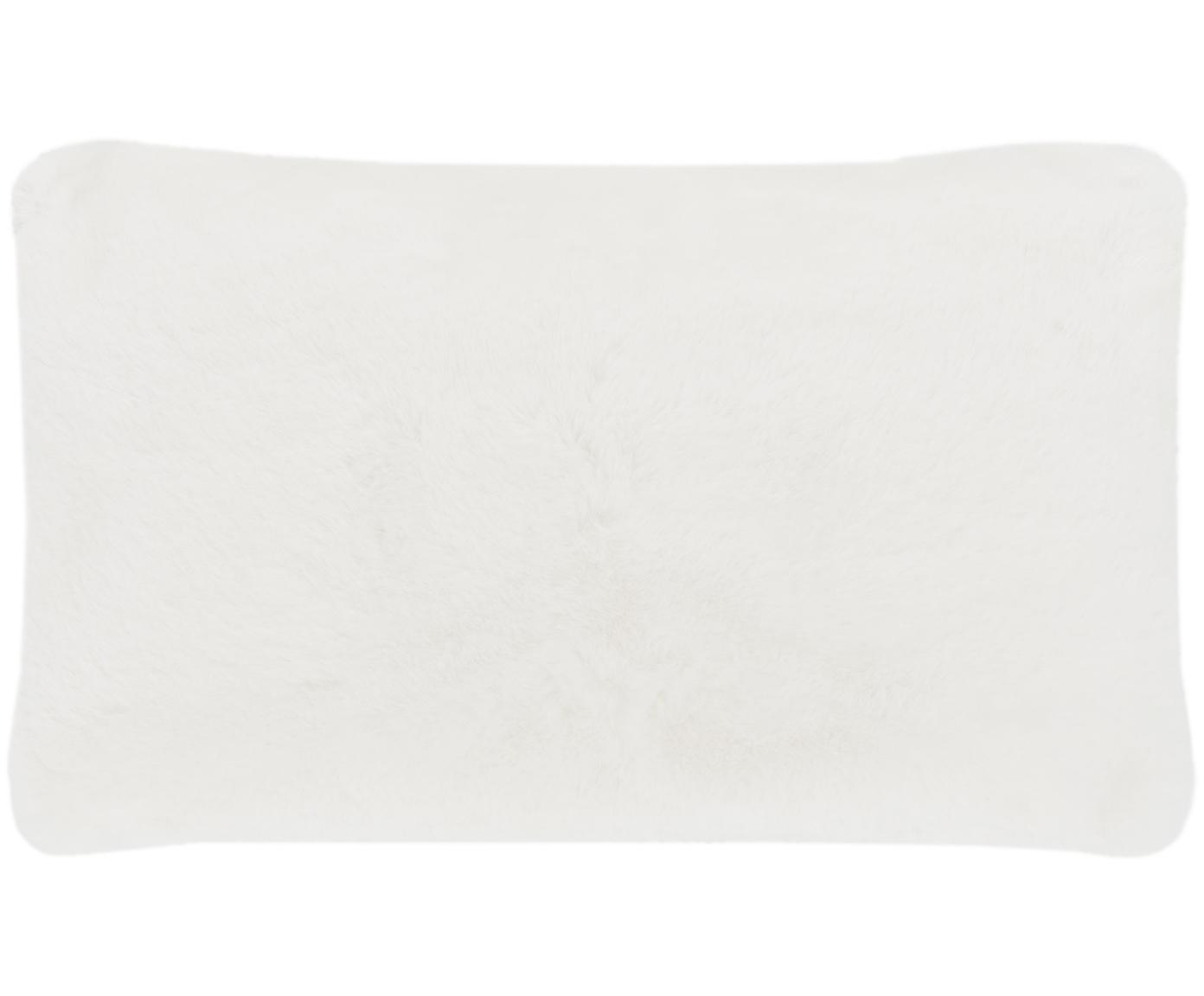 Sehr flauschige Kunstfell-Kissenhülle Mette, glatt, Vorderseite: 100% Polyester, Rückseite: 100% Polyester, Creme, 30 x 50 cm