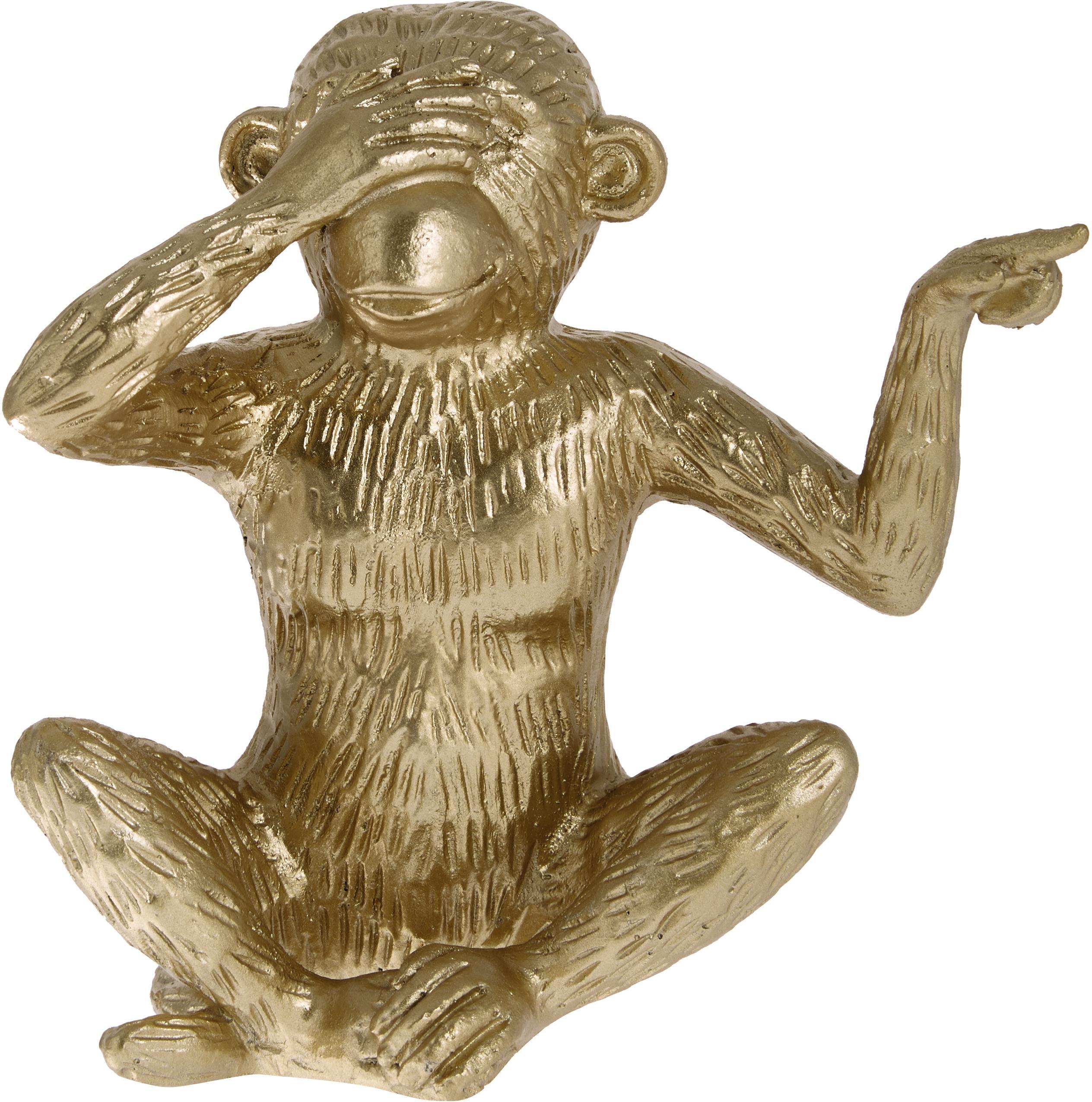 Dekoracja Monkey, Poliresing, Odcienie złotego, S 15 x W 15 cm