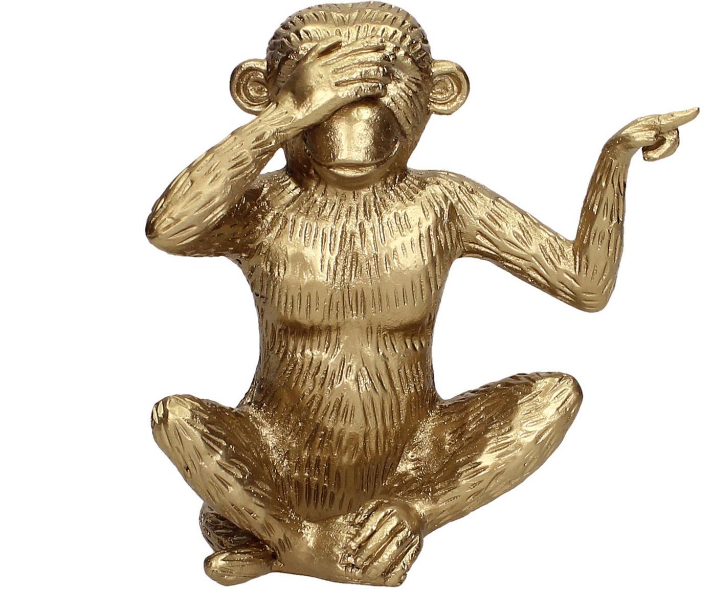 Pieza decorativa Monkey, Poliresina, Dorado, An 15 x Al 15 cm