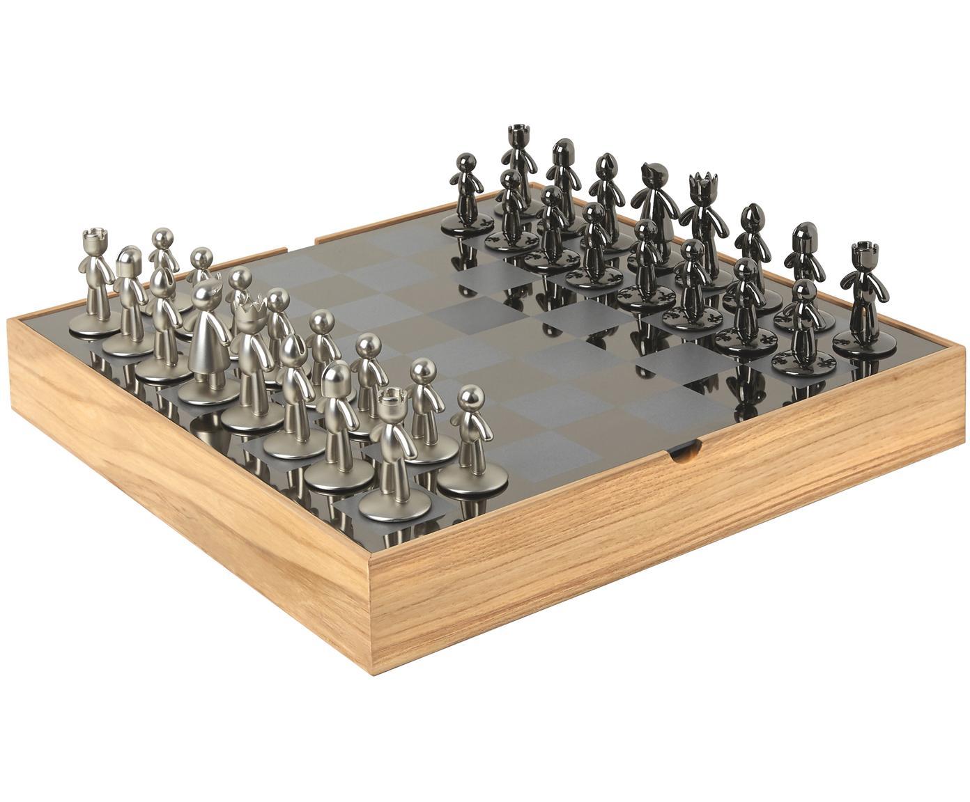 Scacchi Buddy, 33 pz., Scatola: legno di frassino, Scatola: legno di frassino<br>Scacchiera: titanio<br>Figure: nichel, titanio, L 33 x A 4 cm