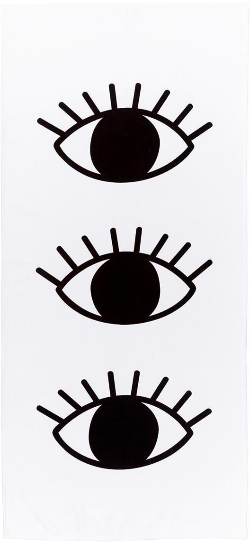 Licht strandlaken Eyes, 55% polyester, 45% katoen zeer lichte kwaliteit, 340 g/m², Wit, zwart, 70 x 150 cm
