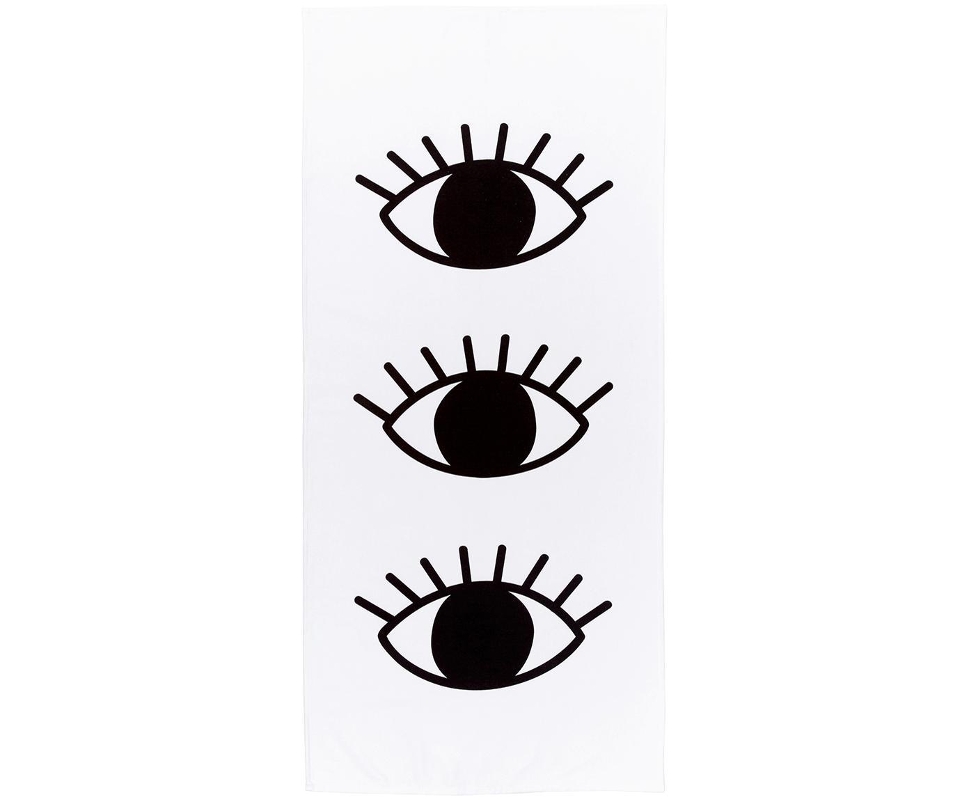 Toalla de playa ligera Eyes, 55%poliéster, 45%algodón Gramaje ligero 340g/m², Blanco, negro, An 70 x L 150 cm