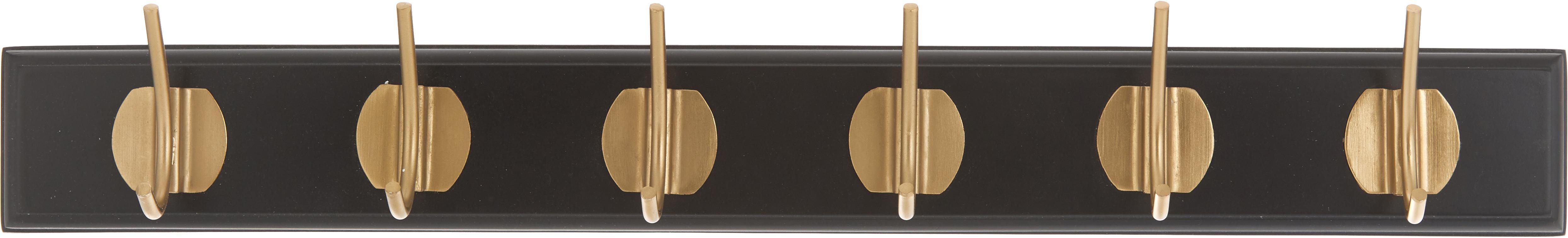 Kapstok Aoife met metalen haak, Lijst: gelakt MDF, Zwart, 60 x 7 cm