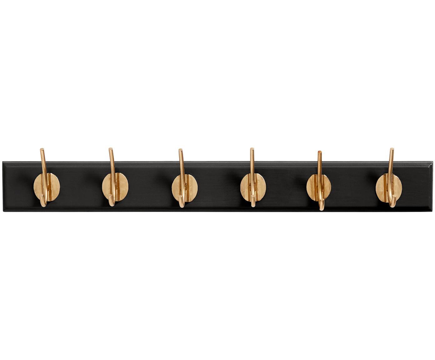 Wieszak ścienny z hakami z metalu Aoife, Czarny, S 60 x W 7 cm
