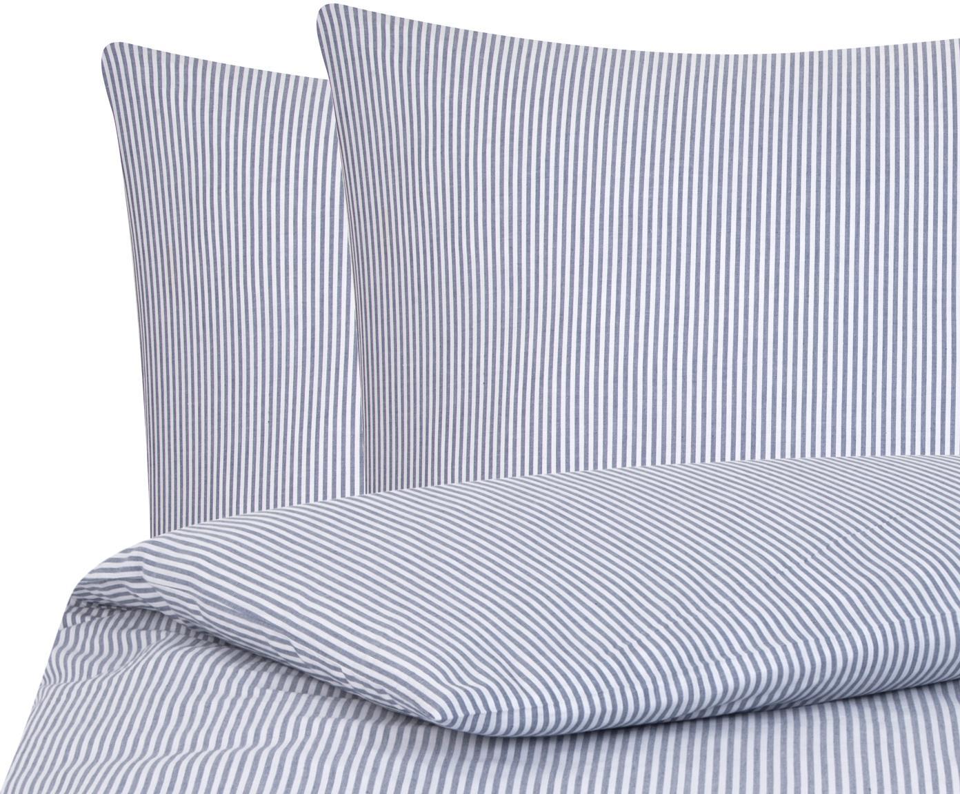 Baumwoll-Bettwäsche Ellie, fein gestreift, Webart: Renforcé Fadendichte 118 , Weiß, Dunkelblau, 200 x 200 cm + 2 Kissen 80 x 80 cm
