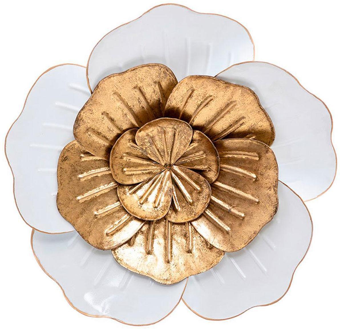Pieza decorativa Bine, Metal, Dorado, blanco, Ø 38 cm