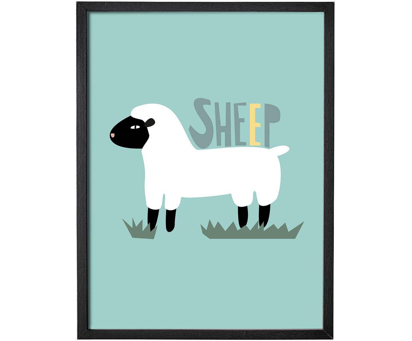 Oprawiony obrazek Sheep, Siedzisko: zielony Nogi: drewno dębowe, S 35 x W 45 cm