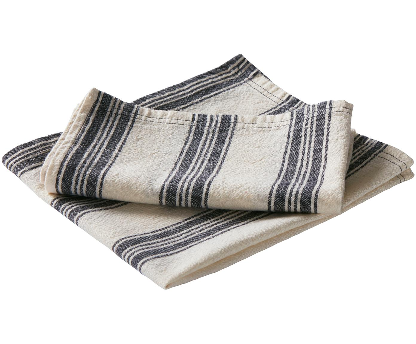 Servetten Abigail, 2 stuks, 80% katoen, 20% linnen, Gebroken wit, blauw, 45 x 45 cm