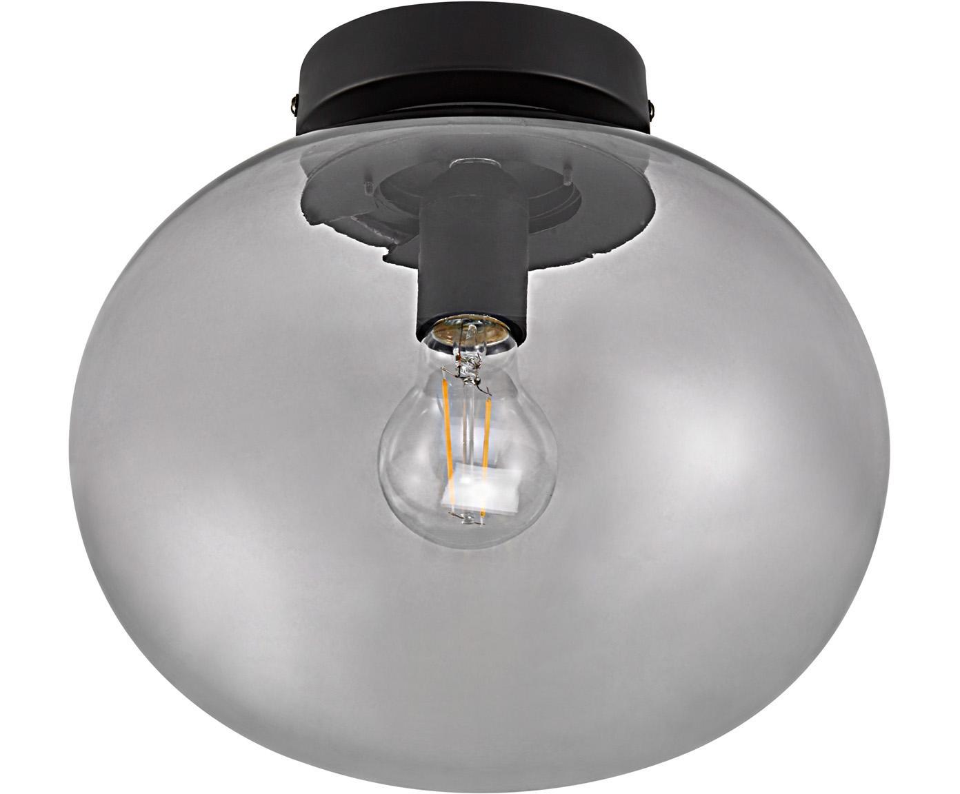 Deckenleuchte Alton aus getöntem Glas, Lampenschirm: Glas, getönt, Baldachin: Metall, beschichtet, Grau, transparent, Schwarz, Ø 28 x H 24 cm
