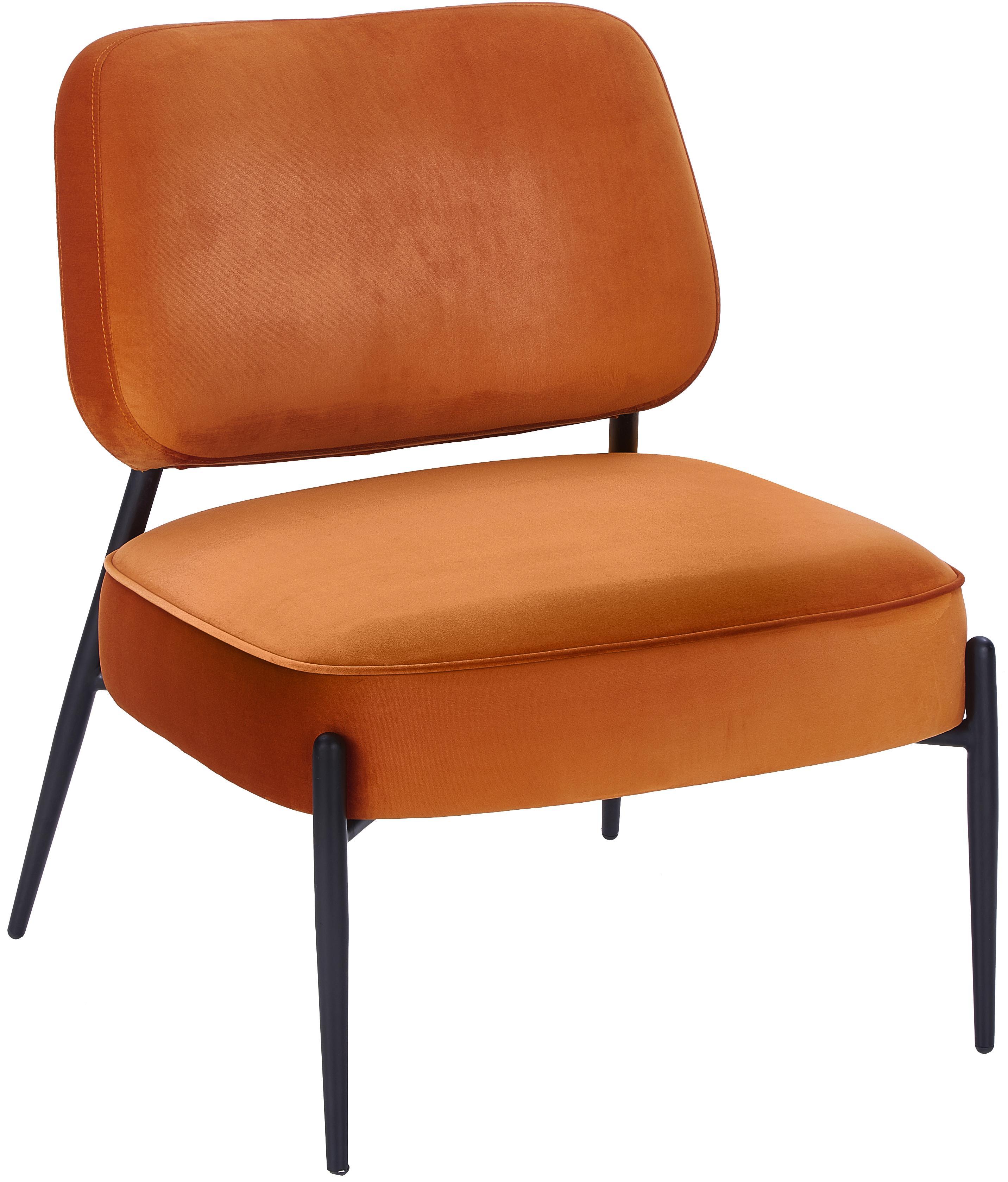 Samt-Loungesessel Viggo, Bezug: Samt (Polyester) 50.000 S, Beine: Metall, pulverbeschichtet, Samt Orange, B 62 x T 67cm