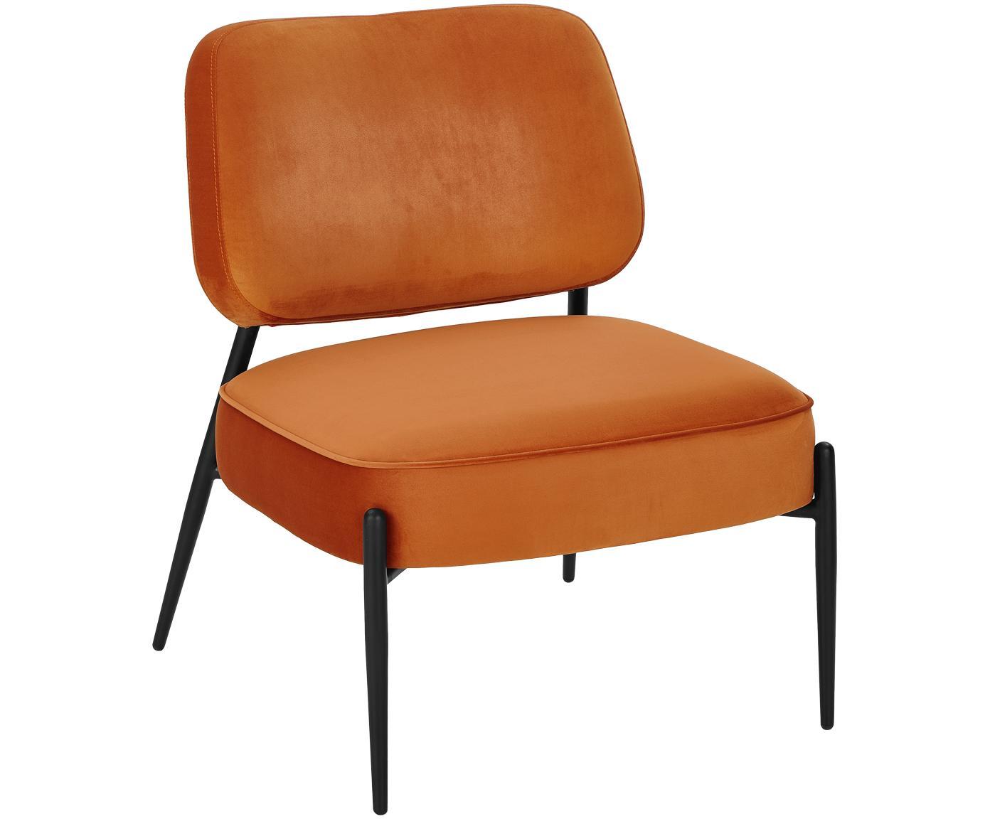 Fotel z aksamitu Viggo, Tapicerka: aksamit (poliester) 5000, Nogi: metal malowany proszkowo, Aksamitny pomarańczowy, S 62 x G 67 cm