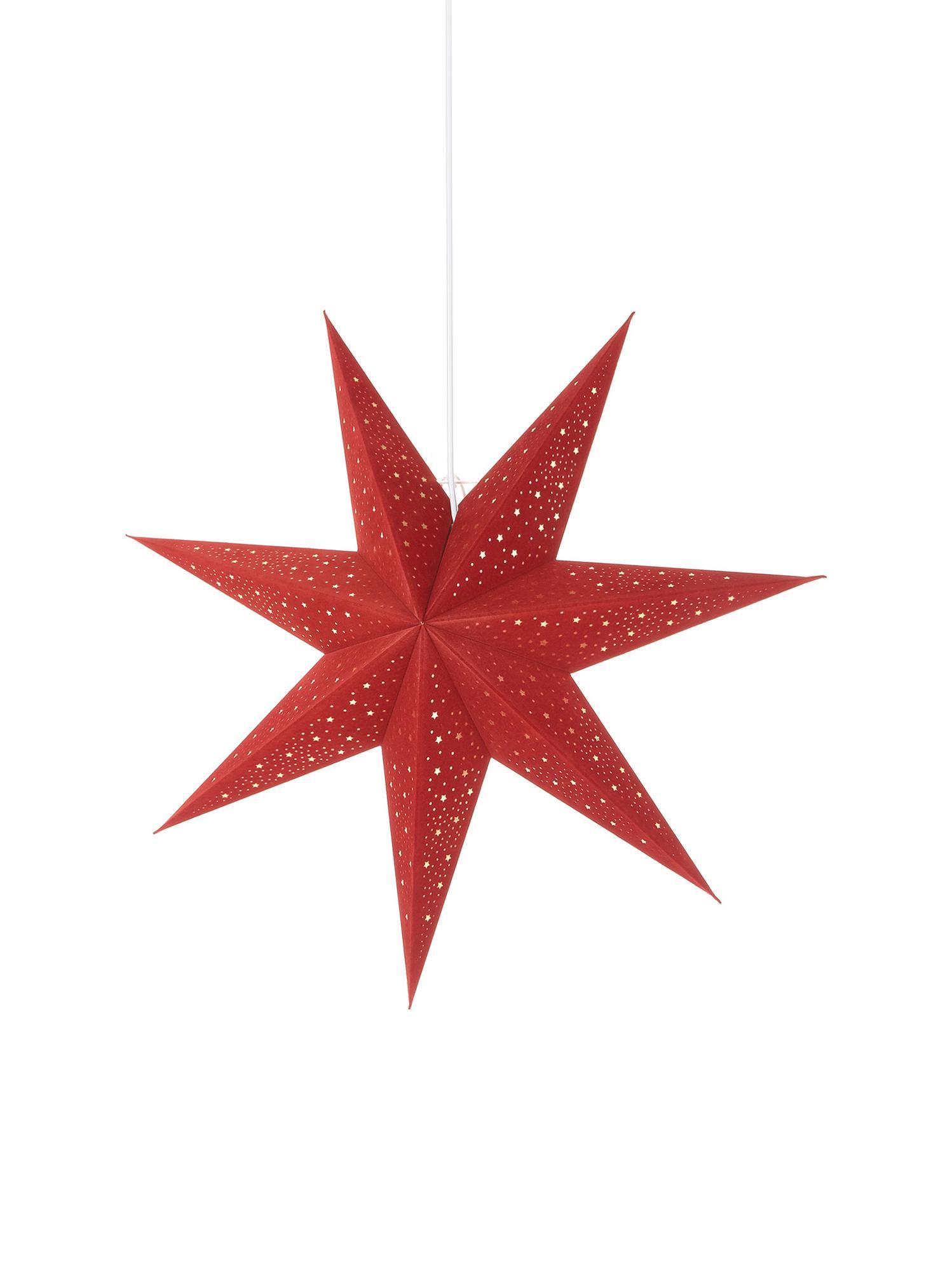 Samt-Weihnachtsstern Orby, Papier, Samt, Rot, Goldfarben, Ø 60 cm