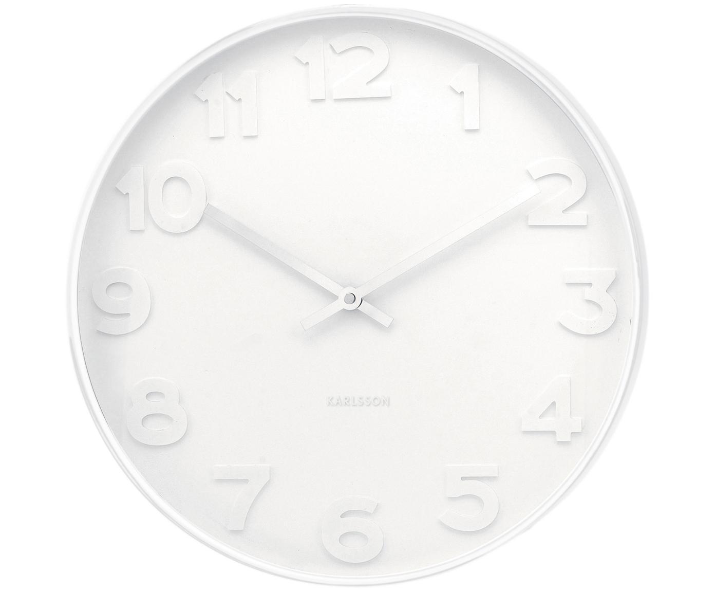Wanduhr Mr. White, Ziffernblatt, Rahmen: Weiss<br>Zeiger: Silberfarben, Ø 38 cm