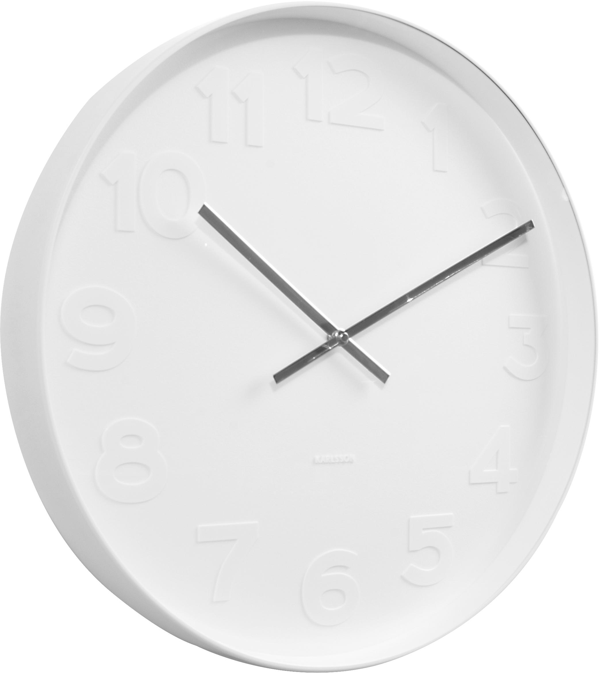 Wanduhr Mr. White, Ziffernblatt, Rahmen: Weiß<br>Zeiger: Silberfarben, Ø 38 cm