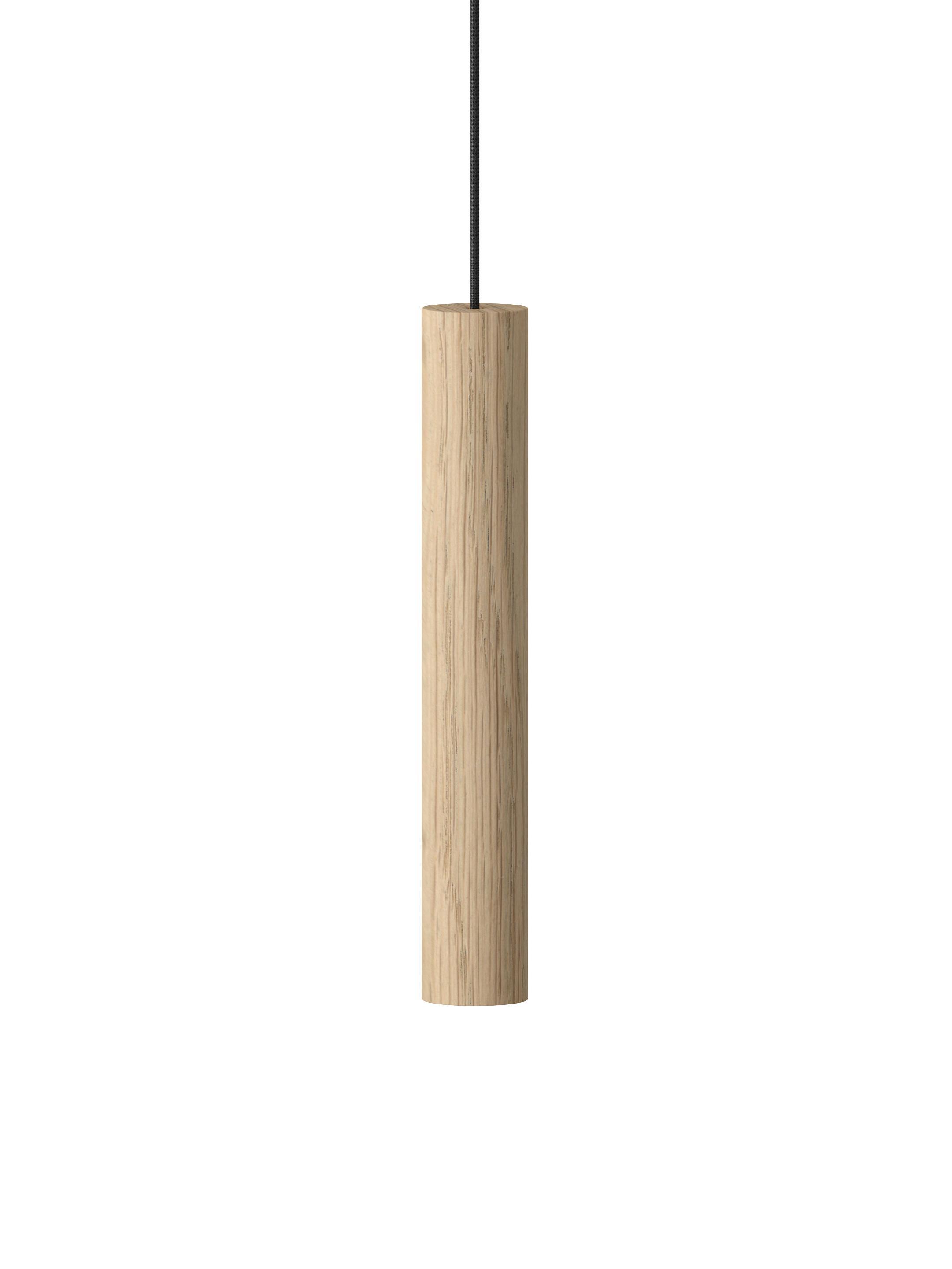 Lampada a sospensione a LED in quercia Chimes, Paralume: legno di quercia, Baldacchino: alluminio verniciato, Legno di quercia, Ø 4 x Alt. 22 cm