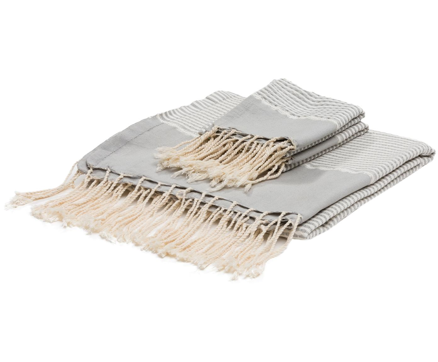 Komplet ręczników Copenhague z wykończeniem z lurexu, 3 elem., Szary perłowy, odcienie srebrnego, biały, Różne rozmiary