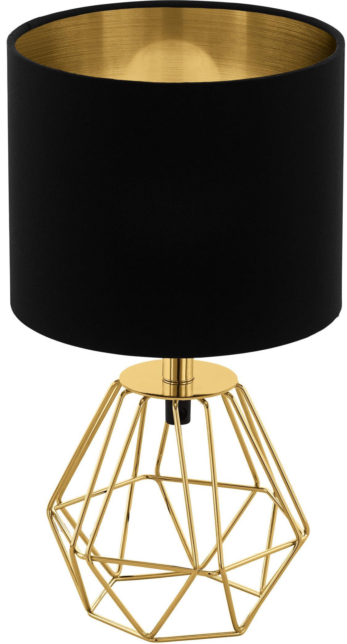 Tafellamp Phil in zwart-goudkleur, Lampvoet: vermessingd metaal, Zwart, goudkleurig, Ø 17 cm