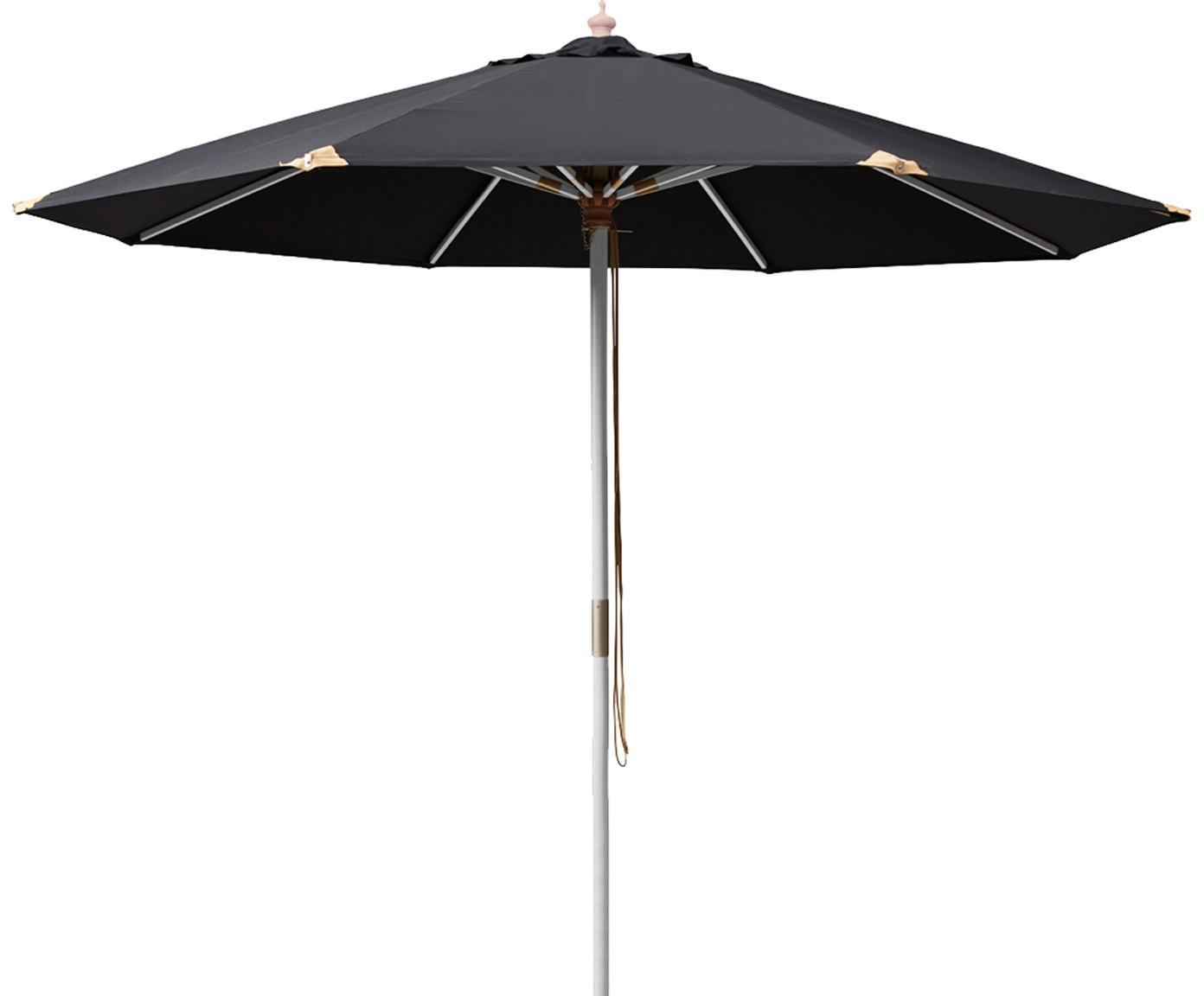 Parasol Capri, Wit gewassen, zwart, Ø 300 x H 265 cm