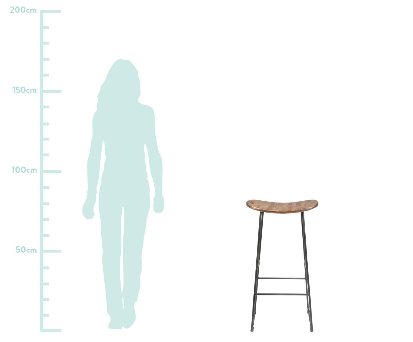 Barhocker Tangle aus Teakholz und Metall, Sitzfläche: Recyceltes Teakholz, lack, Beine: Metall, pulverbeschichtet, Teakholz, Schwarz, B 40 x H 80 cm
