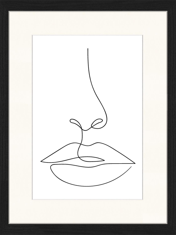 Ingelijste digitale print She, Afbeelding: digitale print op papier,, Lijst: gelakt hout, Zwart, wit, 33 x 43 cm