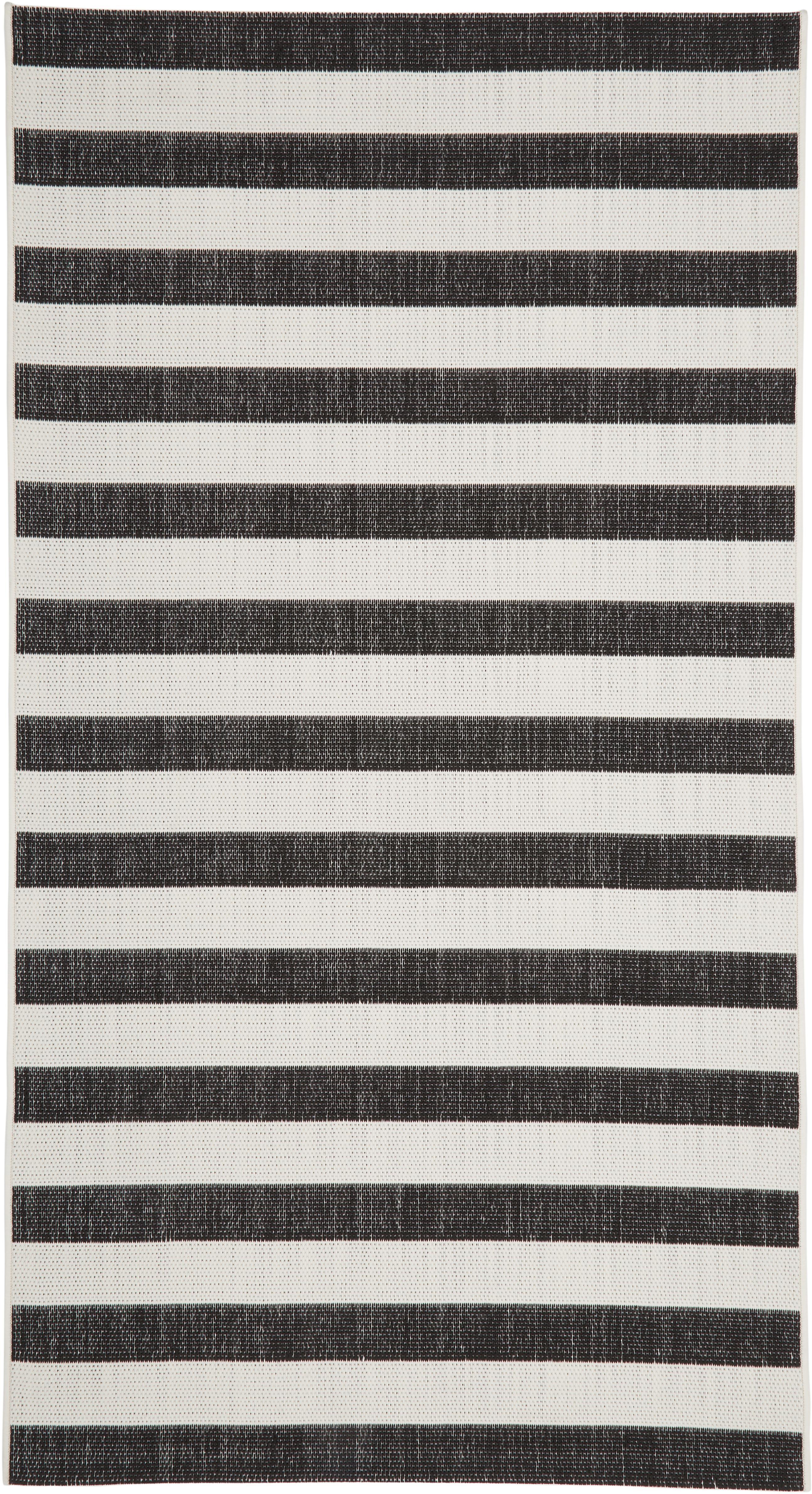 Gestreifter In- & Outdoor-Teppich Axa in Schwarz/Weiß, Flor: 100% Polypropylen, Cremeweiß, Schwarz, B 80 x L 150 cm (Größe XS)