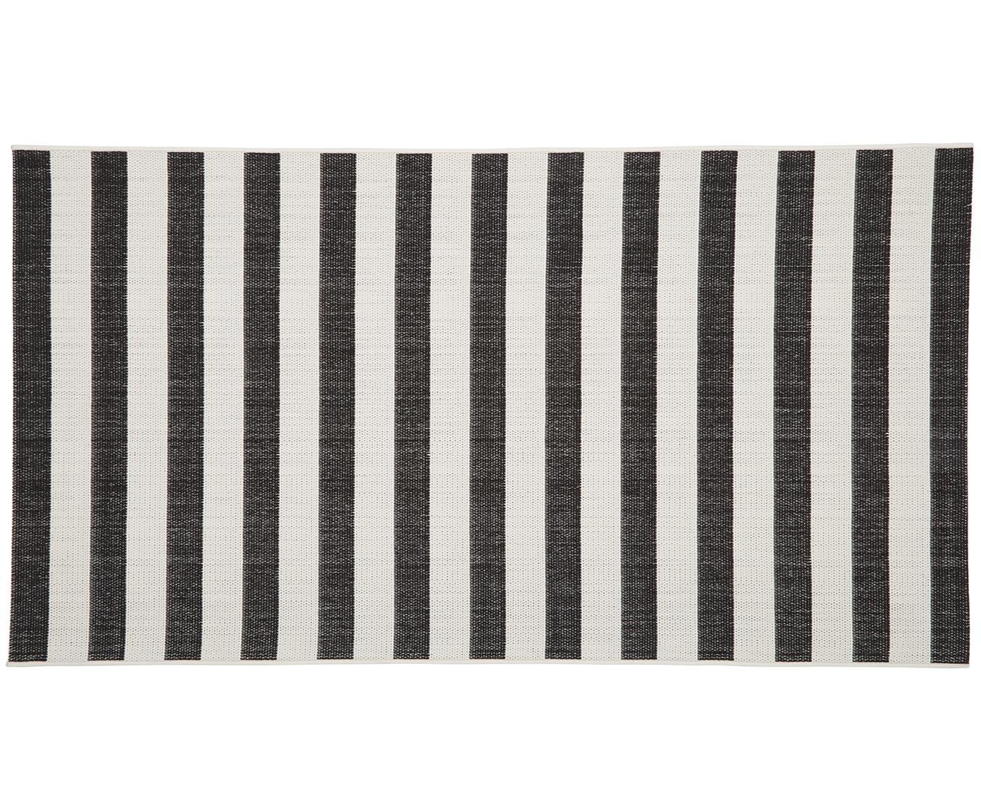 Gestreifter In- & Outdoor-Teppich Axa in Schwarz/Weiss, Flor: 100% Polypropylen, Cremeweiss, Schwarz, B 80 x L 150 cm (Grösse XS)