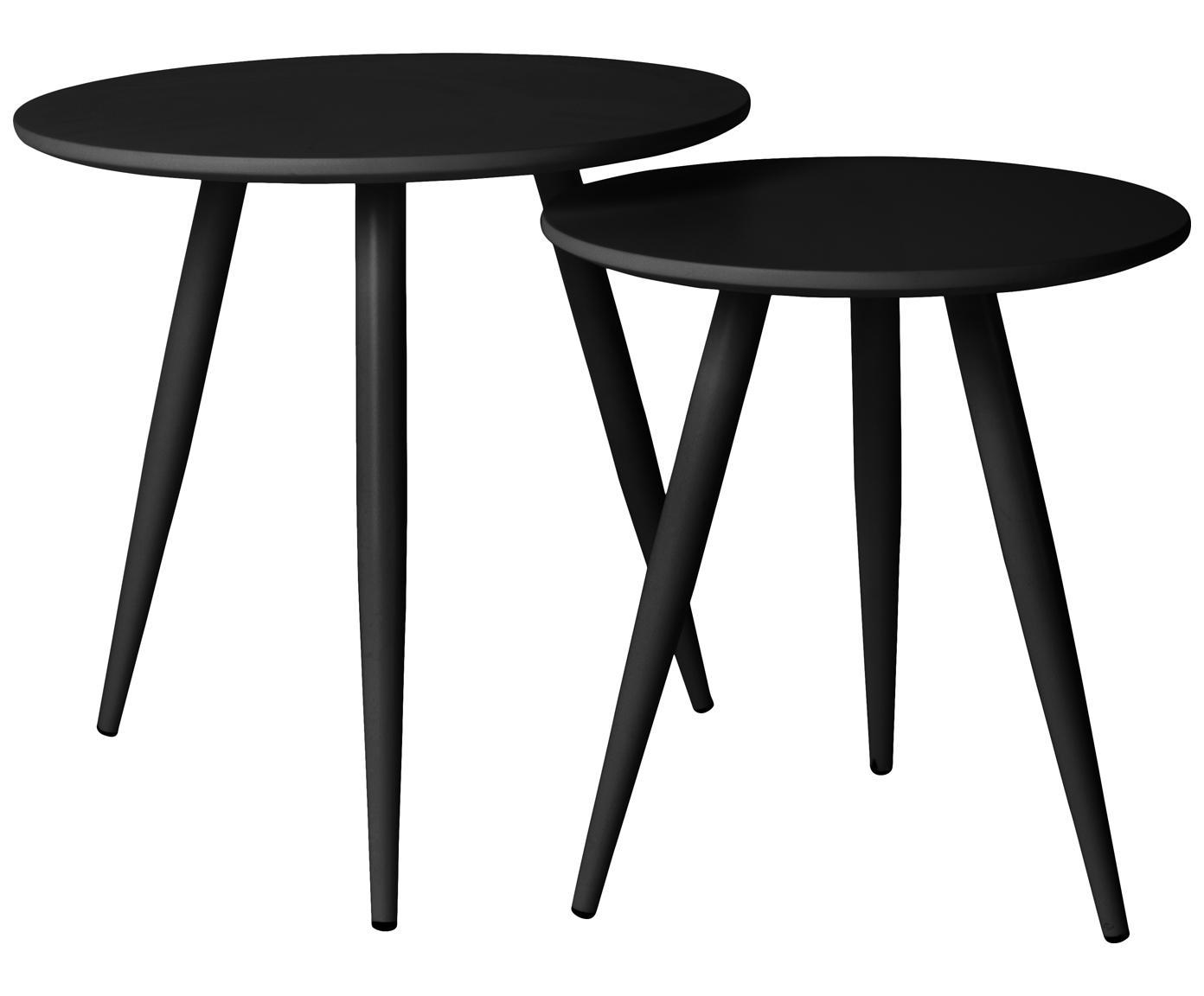 Set 2 tavolini neri Colette, Gambe: metallo verniciato a polv, Piano d'appoggio: pannello di fibra a media, Nero, Diverse dimensioni