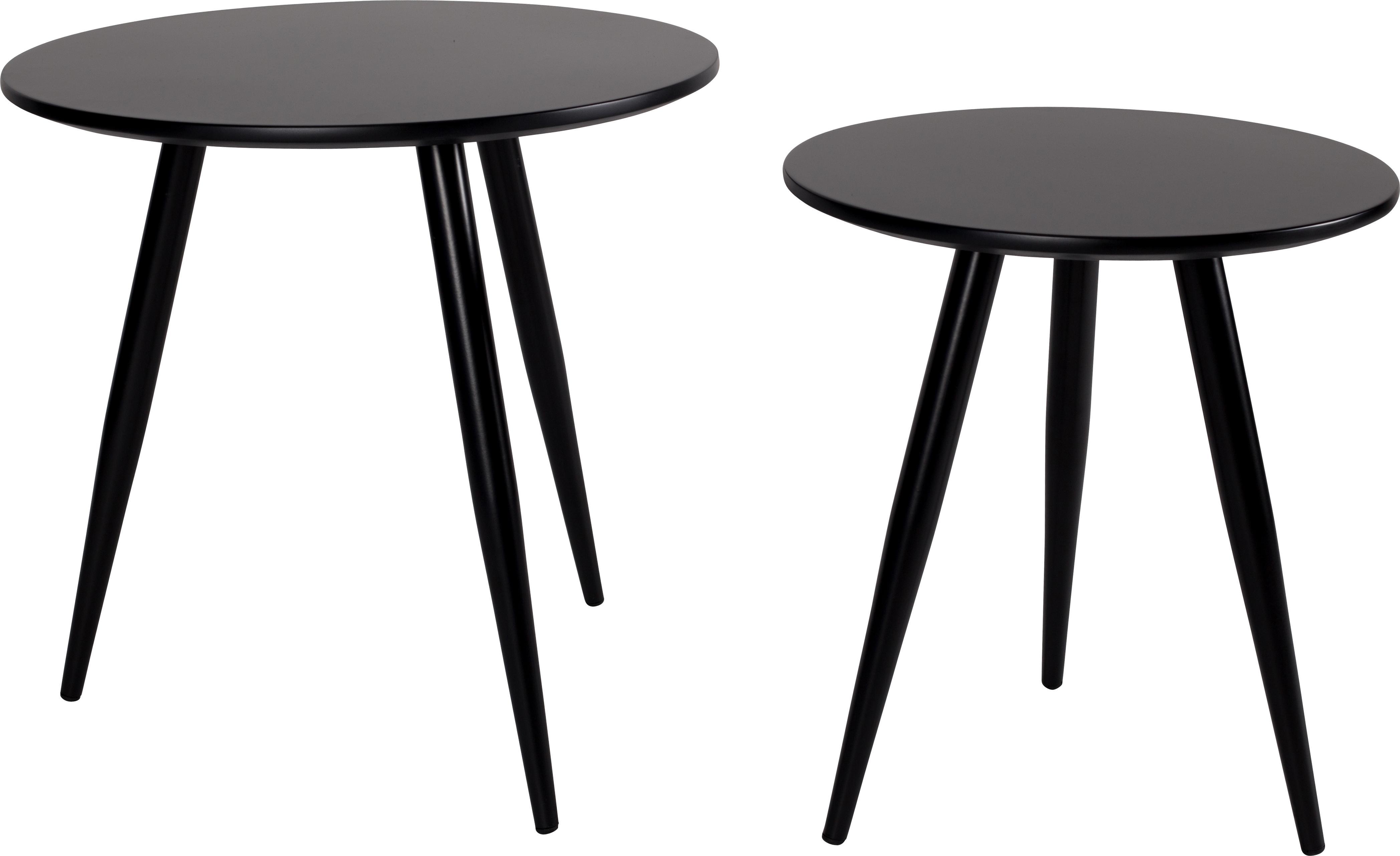 Bijzettafelset Colette, in zwart, 2-delig, Poten: gepoedercoat metaal, Tafelblad: gelakt MDF, Zwart, Set met verschillende formaten
