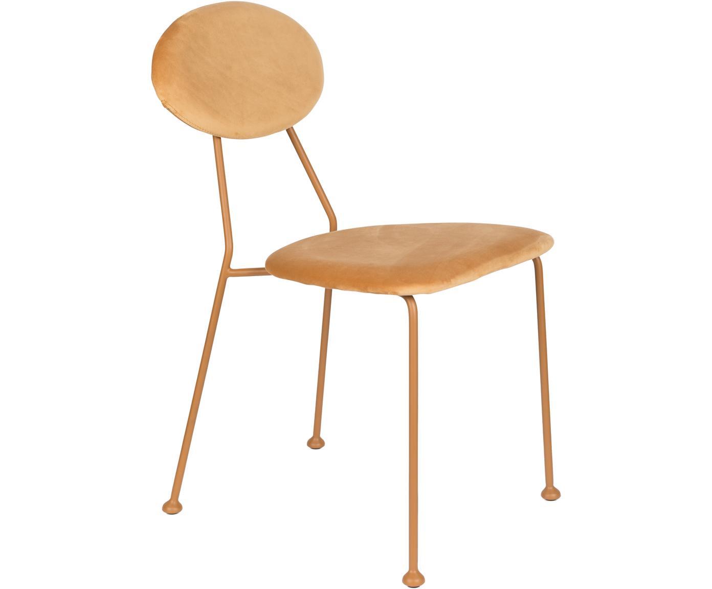 Krzesło tapicerowane z aksamitu Kiss The Froggy, Tapicerka: aksamit poliestrowy 3000, Stelaż: metal malowany proszkowo, Odcienie pomarańczowego złota, S 45 x G 51 cm