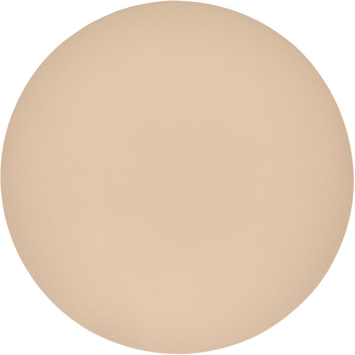 Manteles individuales redondos de cuero sintético Pik, 2uds., Plástico (PVC) es aspecto de cuero, Beige, Ø 38 cm
