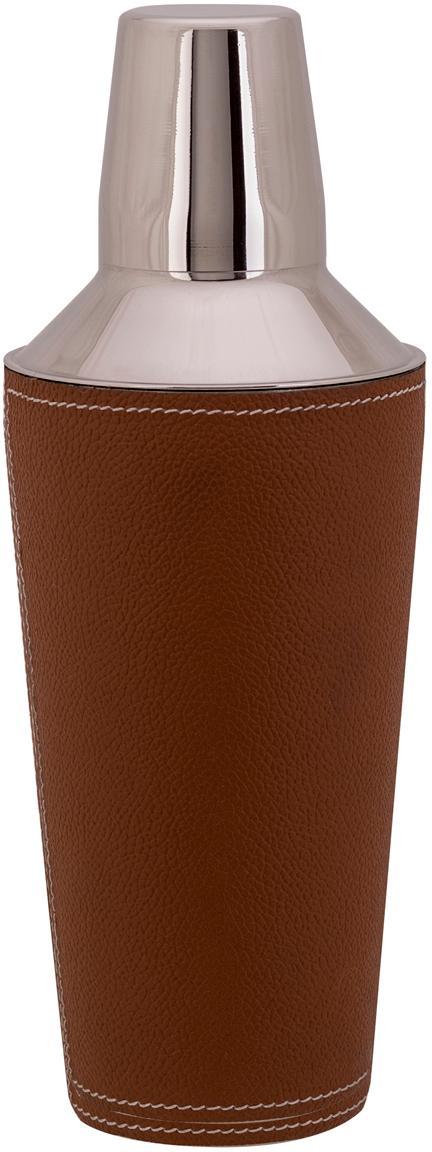 Cocktail Shaker Lahore mit braunem Leder, Shaker: Rostfreier Stahl, Bezug: Leder, Braun, Stahl, Ø 9 x H 25 cm