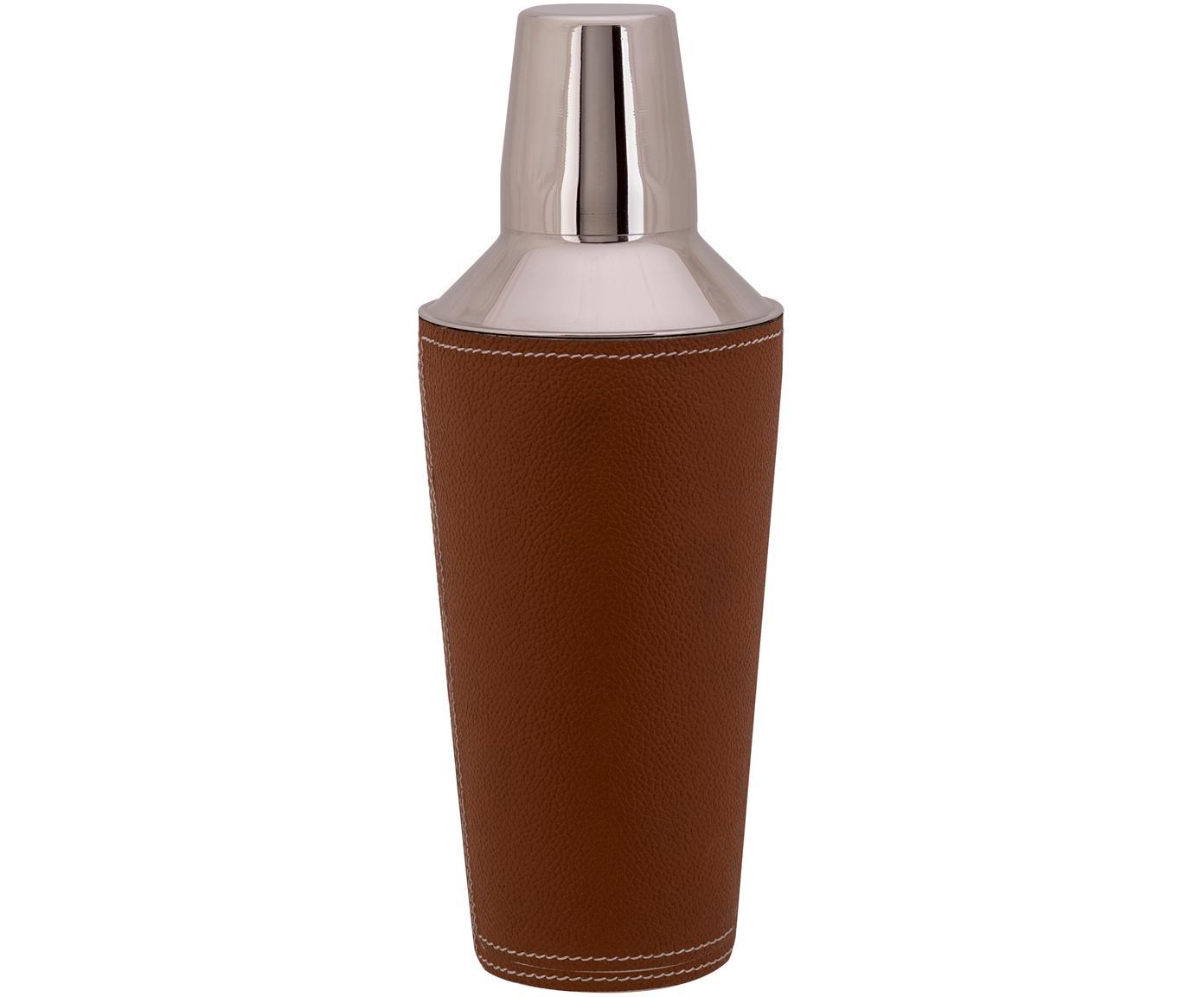 Agitatore per cocktail Lahore, Shaker: acciaio inossidabile, Rivestimento: pelle, Marrone, acciaio, Ø 9 x Alt. 25 cm