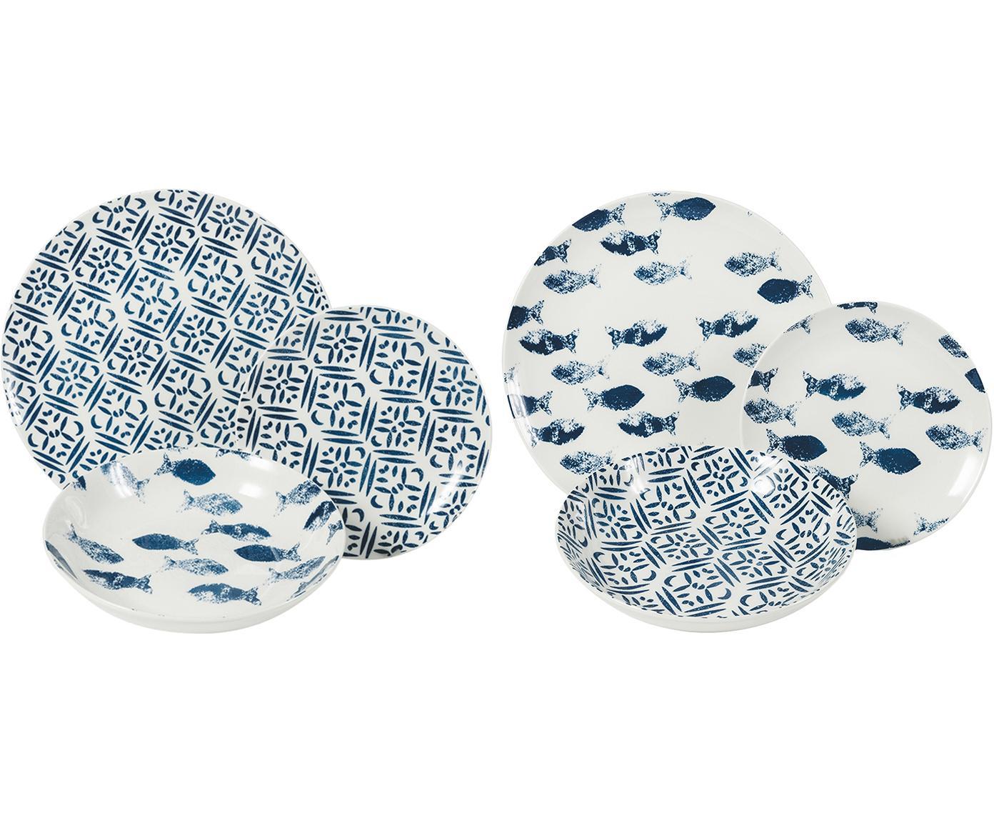 Gemustertes Geschirr-Set Playa in Blau/Weiß, 6 Personen (18-tlg.), Porzellan, Blau, Weiß, Sondergrößen