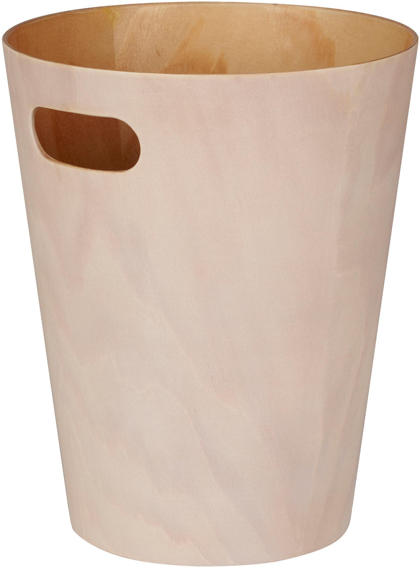 Kosz na śmieci XS Woodrow Can, Drewno lakierowane, Kremowy, Ø 23 x W 28 cm