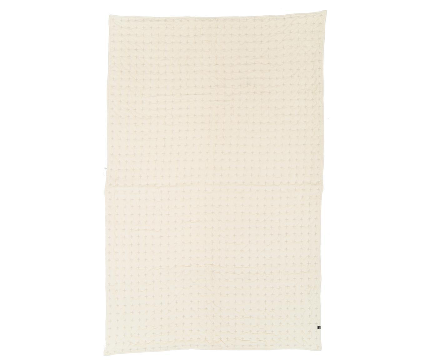 Narzuta z aksamitu Nellie, Przód: złamana biel, biały Tył: złamana biel, S 250 x D 260 cm