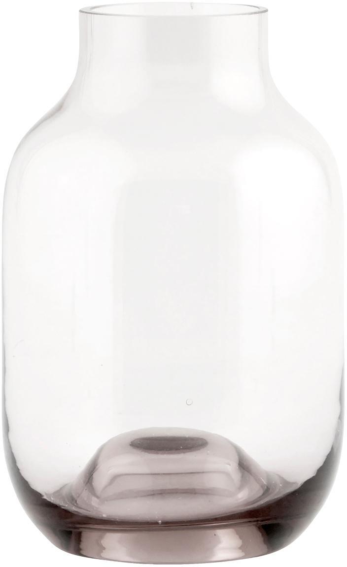 Jarrón de vidrio Shabergie, pequeño, Vidrio, Caqui, blanco, Ø 9 x Al 14 cm
